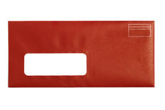Red Window Envelope. With white background Stock Photos