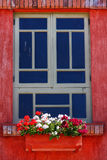 Red Window with Flowers Stock Image