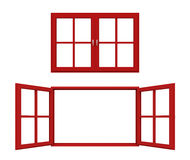 Red window frame Royalty Free Stock Images