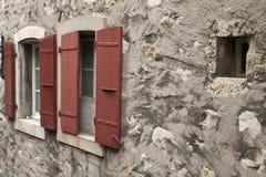 Red_window_panes Fotografia Stock