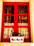 Red Window in Gozo. Red window in stone house Gozo Malta royalty free stock photos