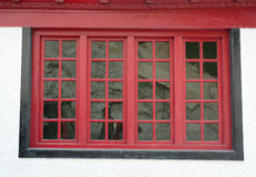 Red window at Tibetan house in Leh, India Royalty Free Stock Photos