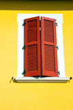 Red window  varano borghi palaces italy   abstract  sunny Royalty Free Stock Image