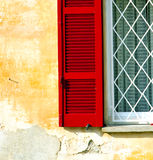 Red window  varano borghi palaces italy  tent grate Royalty Free Stock Image