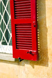 Red window  varano borghi palaces tent grate Stock Images