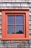 Red window. And wood wall Royalty Free Stock Photos