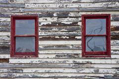 Red Windows in Old Wall Stock Photos