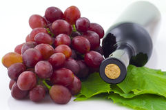 Red Wine. And Grape and Leaf royalty free stock photography