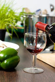 Red wine. Bottle for cooking Stock Image