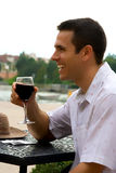 Red wine. Man holding glass of red wine stock photos
