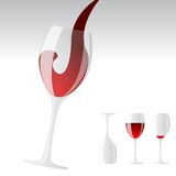 Red wine. Splashing into the glass Stock Photos