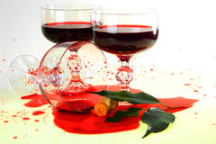 Red wine. Is in glass, it is poured out Stock Image