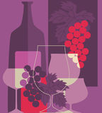 RED Wine. Retro styled red Wine illustration Stock Photography