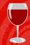 Red wine. Illustration of a glass of red wine soft red background Royalty Free Stock Photography