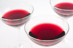 Red wine. Three glasses of red wine still life Stock Images