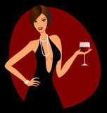 Red Wine. A beautiful woman holding a glass of red wine Stock Photos