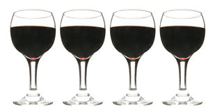 Red wine. In four glasses Stock Photo