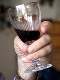 Red wine. Glass of red wine held by a man's hand royalty free stock images