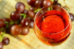 Red wine. Grapes and sunlight Royalty Free Stock Photo