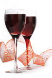 Red wine. Two glasses with red wine isolated on white royalty free stock photo