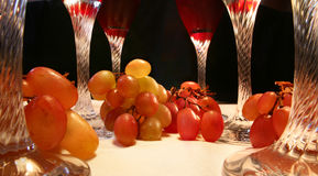 Red wine. In abstract close up of wine glasses Royalty Free Stock Image