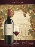 Red wine ads. Fleshy and fruity wine in 3d illustration isolated on engraving vineyard background Stock Image