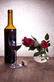 Red Wine And Red Roses Royalty Free Stock Photo