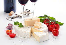 Red wine and assortment of cheese Royalty Free Stock Images