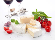 Red wine and assortment of cheese Stock Photo