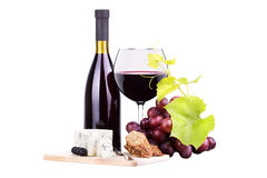 Red wine assortment of grapes and cheese Royalty Free Stock Image