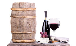 Red wine assortment of grapes and cheese Stock Photos