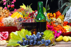 Red wine in the autumn evening Stock Images