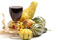 Red Wine and Autumn Foliage Stock Image