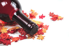 Red wine on autumn leaves. A bottle of red wine on some autumn leaves Stock Photography