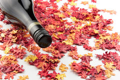 Red wine on autumn leaves. A bottle of red wine on some autumn leaves Stock Image