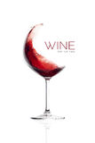 Red Wine in Balloon Glass. Splash Design Stock Photos