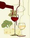 Red Wine Band Glass of Wine with cheese Stock Images