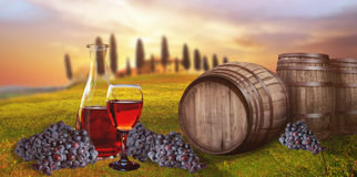 Red wine barrel against Tuscan landscape Italy Royalty Free Stock Photography