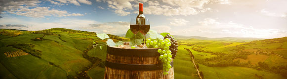 Red wine with barrel on vineyard in green Tuscany, Italy.  stock images