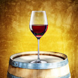 Red Wine on Barrel Stock Photos