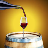 Red Wine on Barrel Royalty Free Stock Images