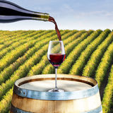 Red Wine on Barrel Royalty Free Stock Photography