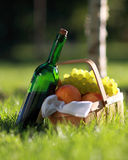 Red wine and basket of fruits Stock Photo