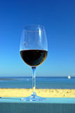 Red Wine at the Beach Royalty Free Stock Images