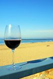 Red Wine at the Beach royalty free stock photography