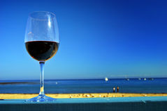 Red Wine at the Beach Stock Photography