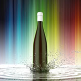 Red wine blank bottle without label on colored background water splash Royalty Free Stock Photos