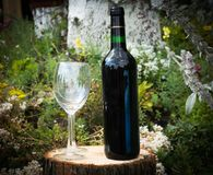 Red Wine. Bootled on log Stock Images