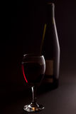 Red wine with bottle Stock Images