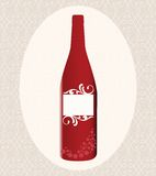 Red Wine bottle. With blank label (separate pieces on label Stock Photos